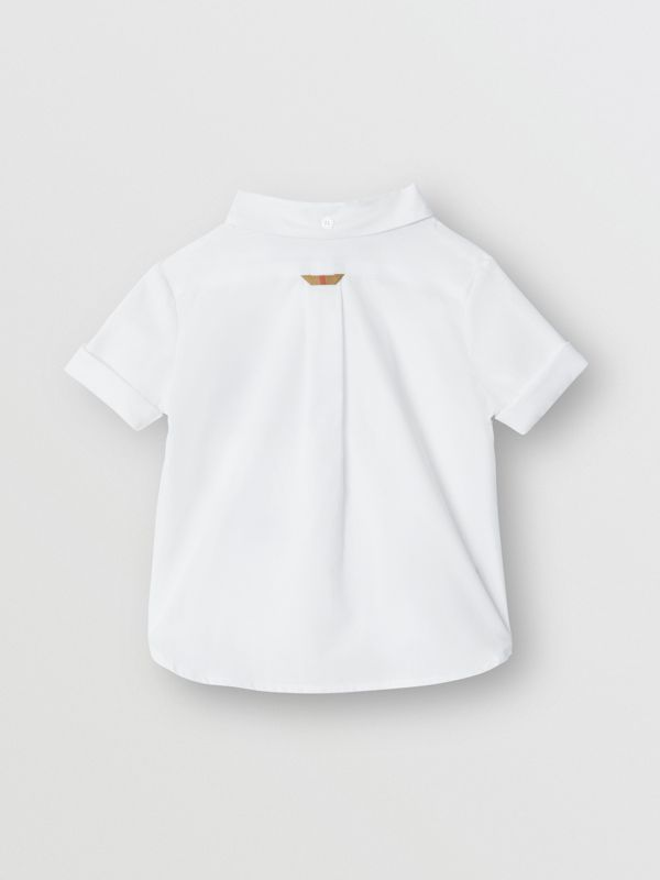 Short-sleeve Check Detail Cotton Oxford Shirt in White - Children | Burberry - cell image 3