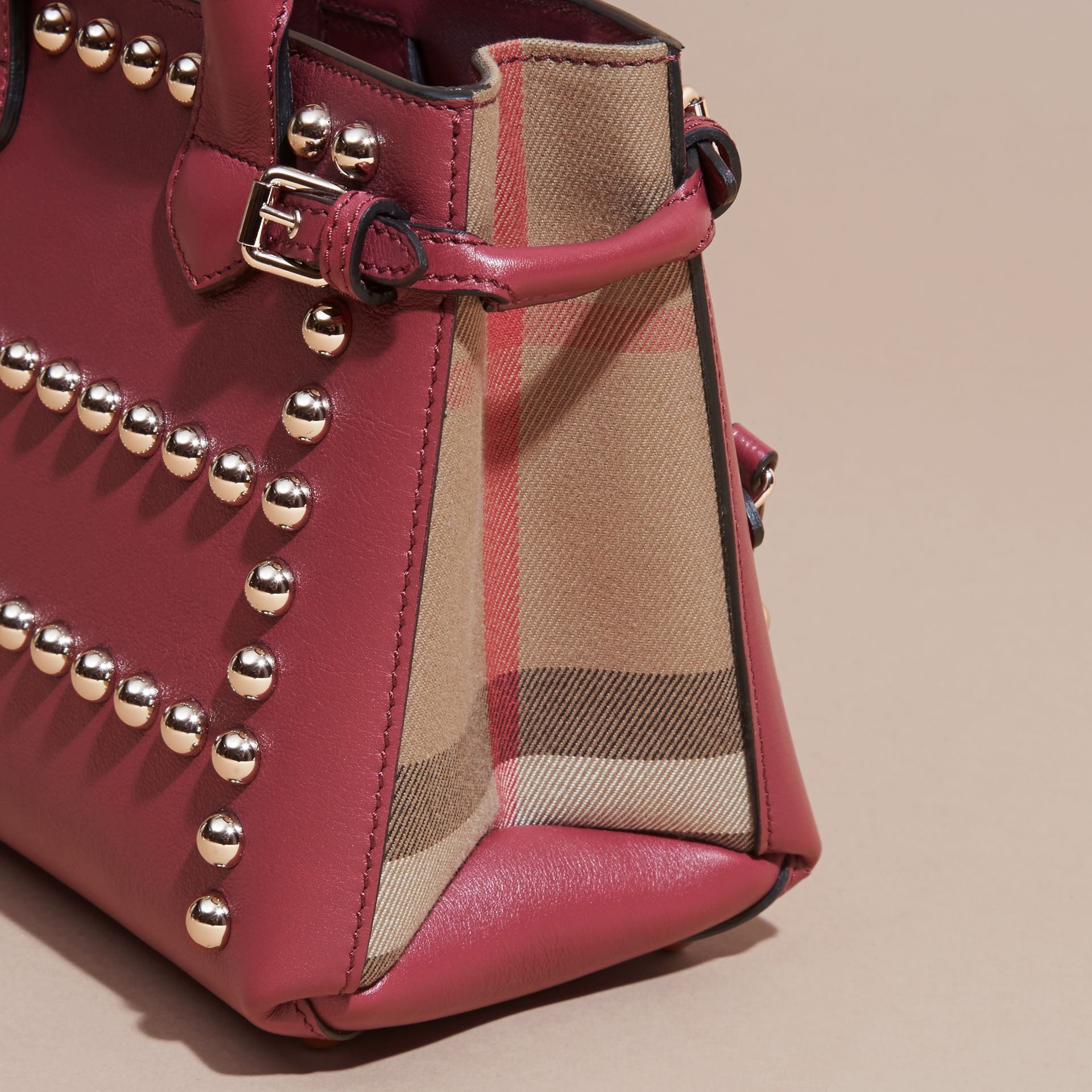 Garnet pink The Baby Banner in Studded Leather and House Check - gallery image 2