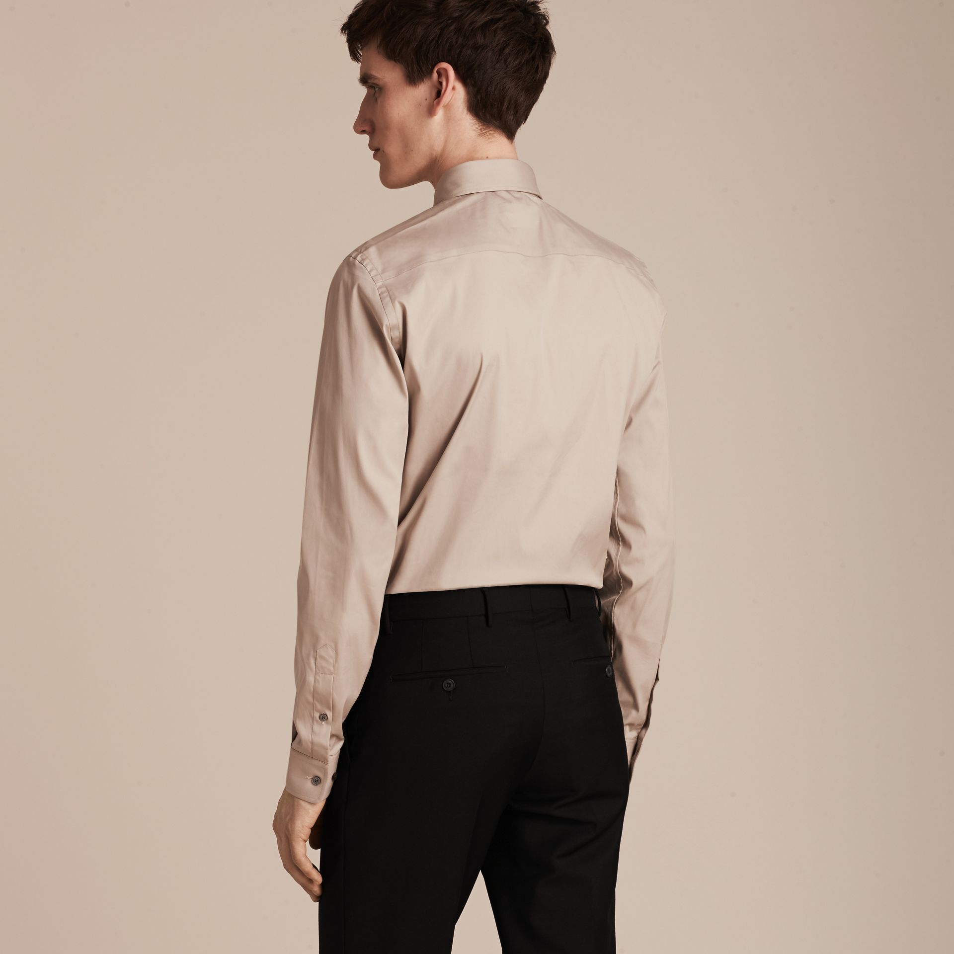 Taupe Slim Fit Stretch Cotton Blend Shirt Taupe - gallery image 3