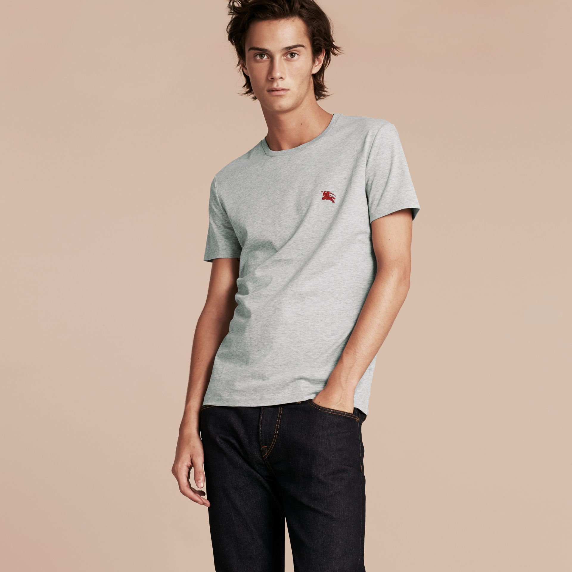 Cotton Jersey T-shirt in Pale Grey Melange - Men | Burberry - gallery image 6