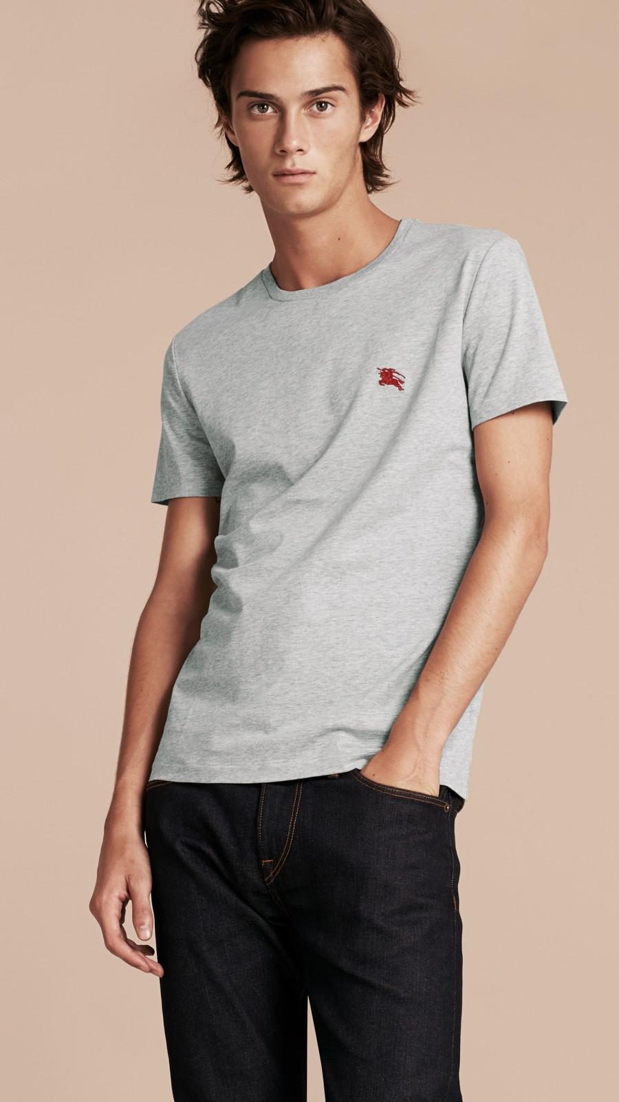 Pale grey melange Liquid-soft Cotton T-Shirt Pale Grey Melange - Image 6