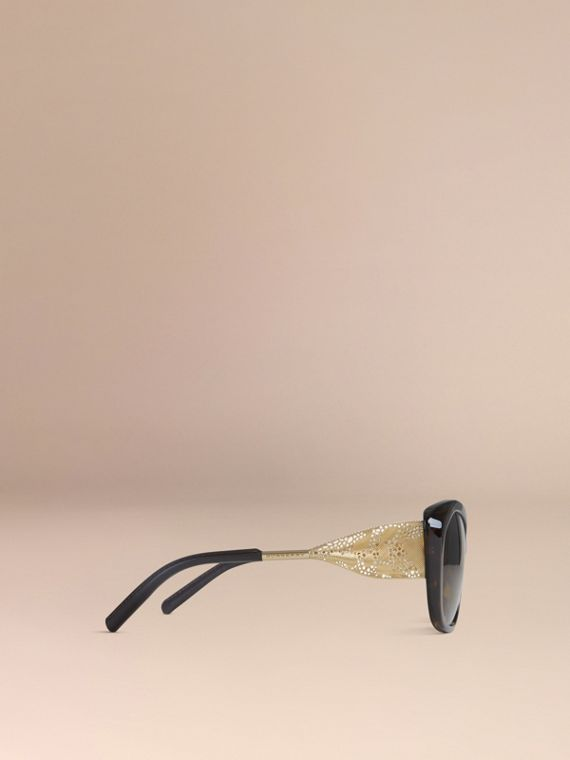 Gabardine Lace Collection Square Frame Sunglasses in Tortoise Shell - cell image 3