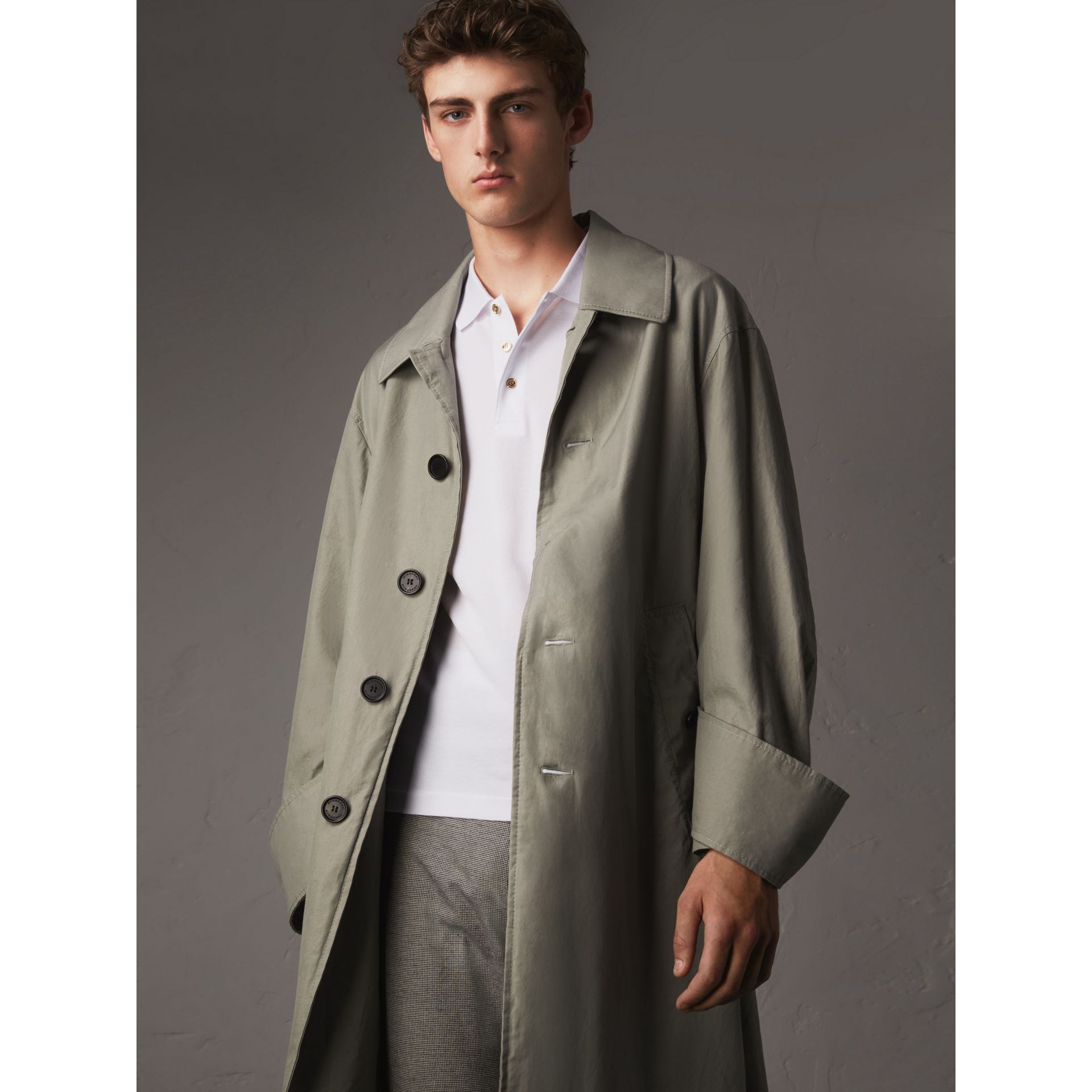 Unisex Tropical Gabardine Car Coat with Exaggerated Cuffs in Slate Green - Men | Burberry - gallery image 1