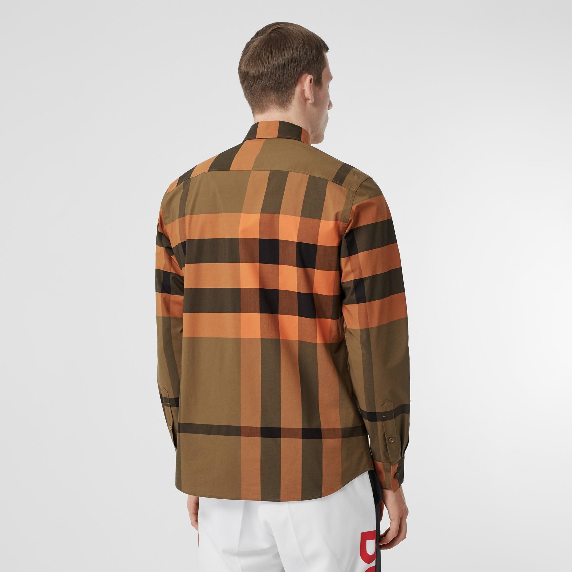 Check Stretch Cotton Poplin Shirt in Bright Orange - Men | Burberry - gallery image 2