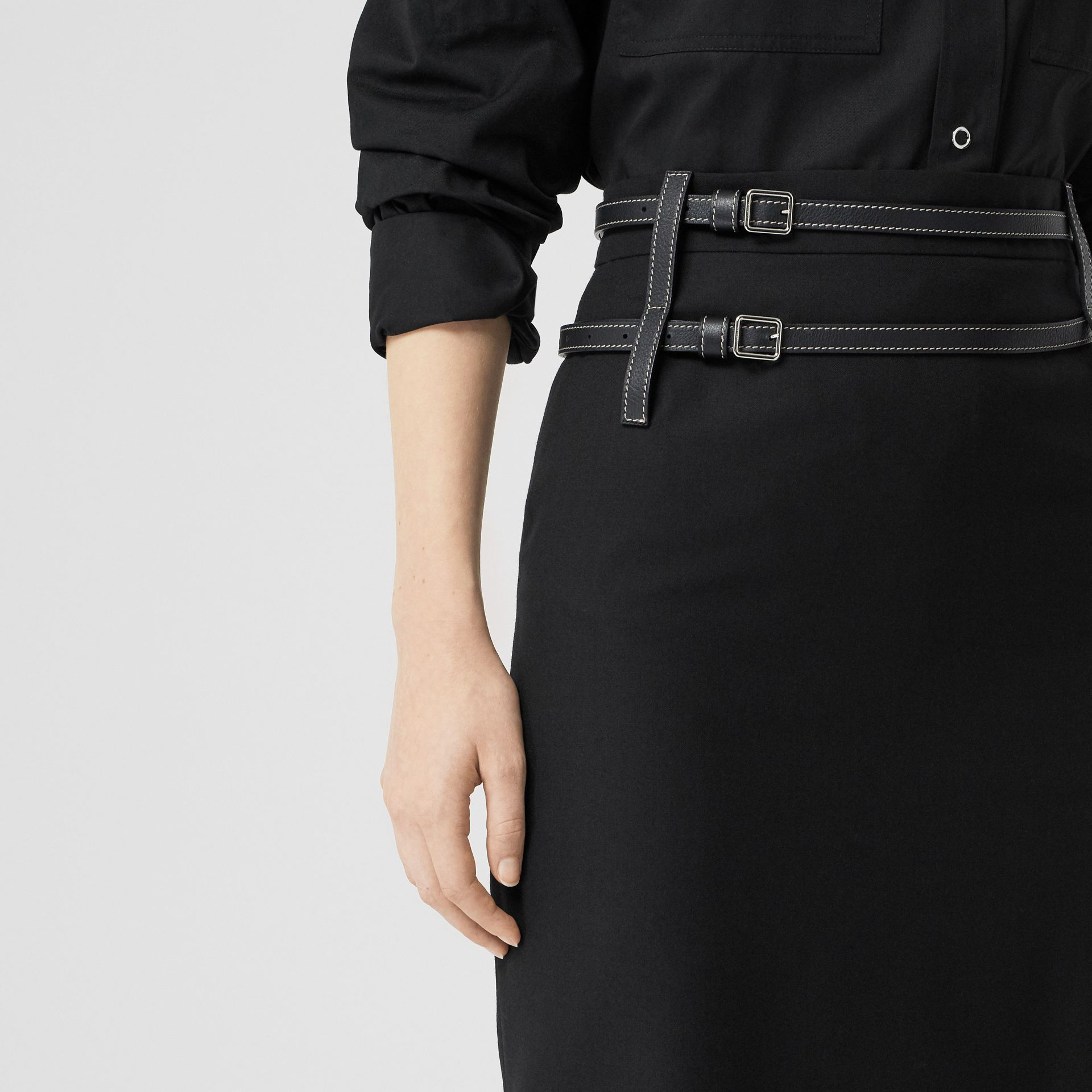 Leather Harness Detail Wool Pencil Skirt in Black - Women | Burberry United Kingdom - gallery image 1