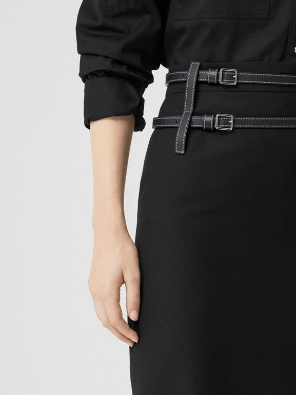 Leather Harness Detail Wool Pencil Skirt in Black - Women | Burberry United Kingdom - cell image 1