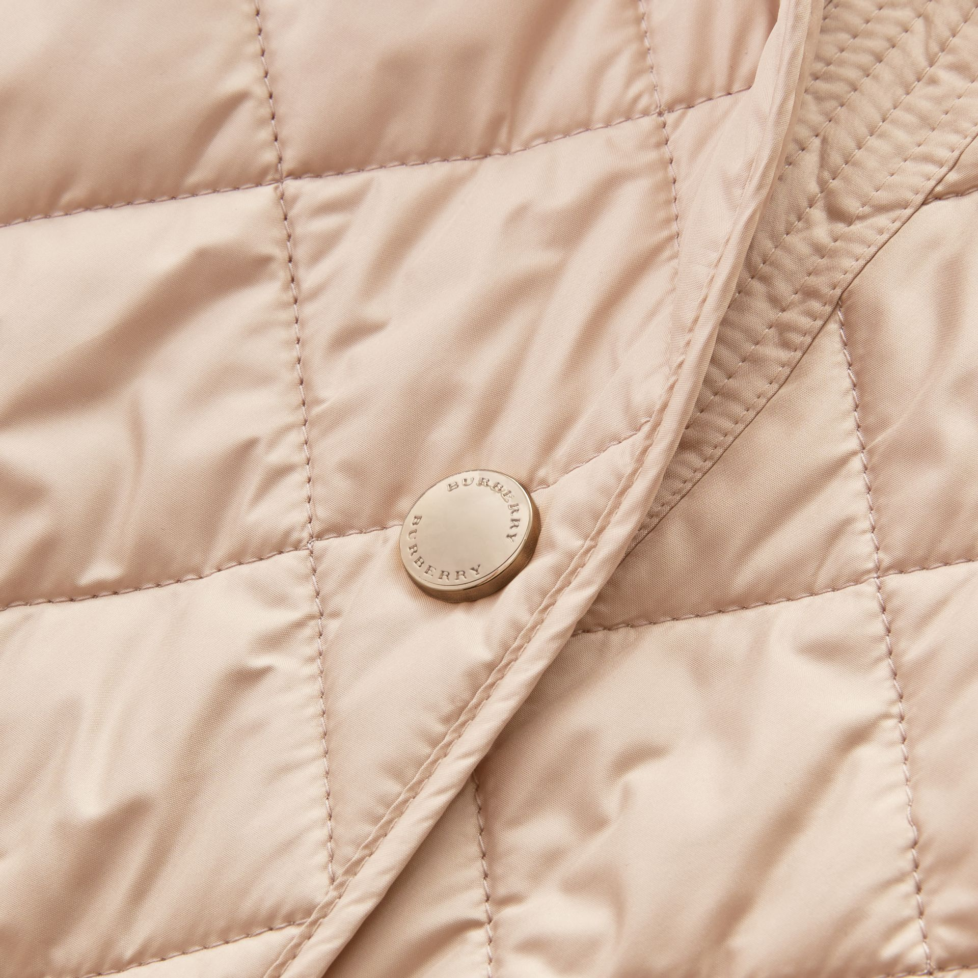 Check Detail Diamond Quilted Jacket in Dark Stone - gallery image 2