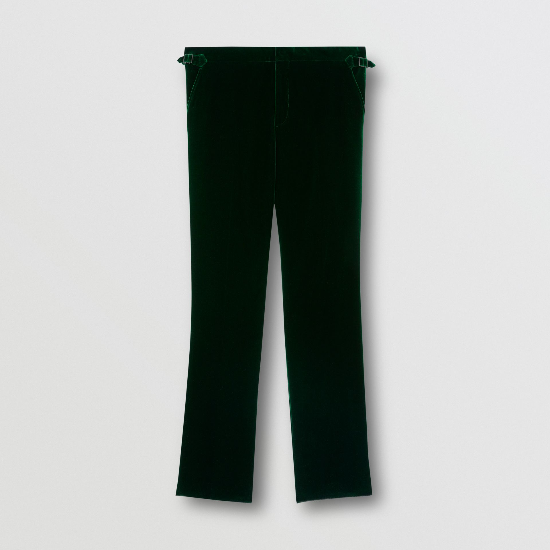 Classic Fit Silk Trim Velvet Tailored Trousers in Dark Pine Green - Men | Burberry - gallery image 3