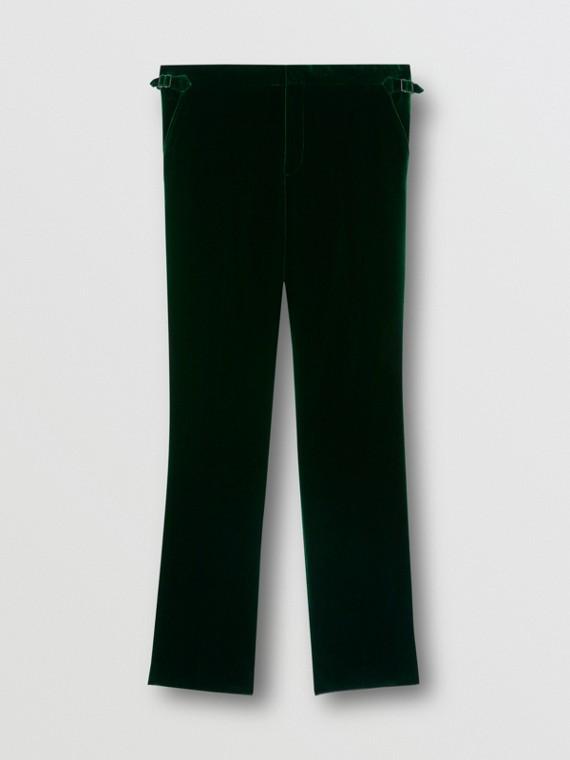 Classic Fit Silk Trim Velvet Tailored Trousers in Dark Pine Green