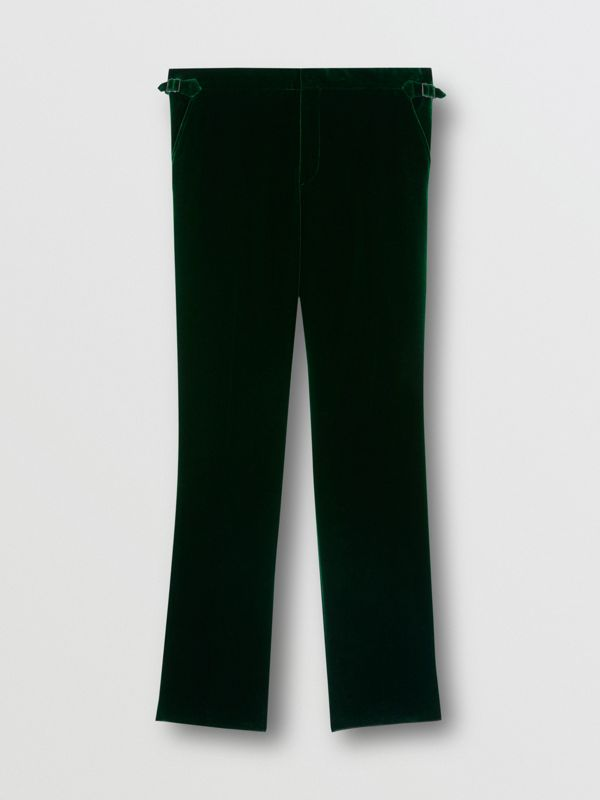 Classic Fit Silk Trim Velvet Tailored Trousers in Dark Pine Green - Men | Burberry - cell image 3