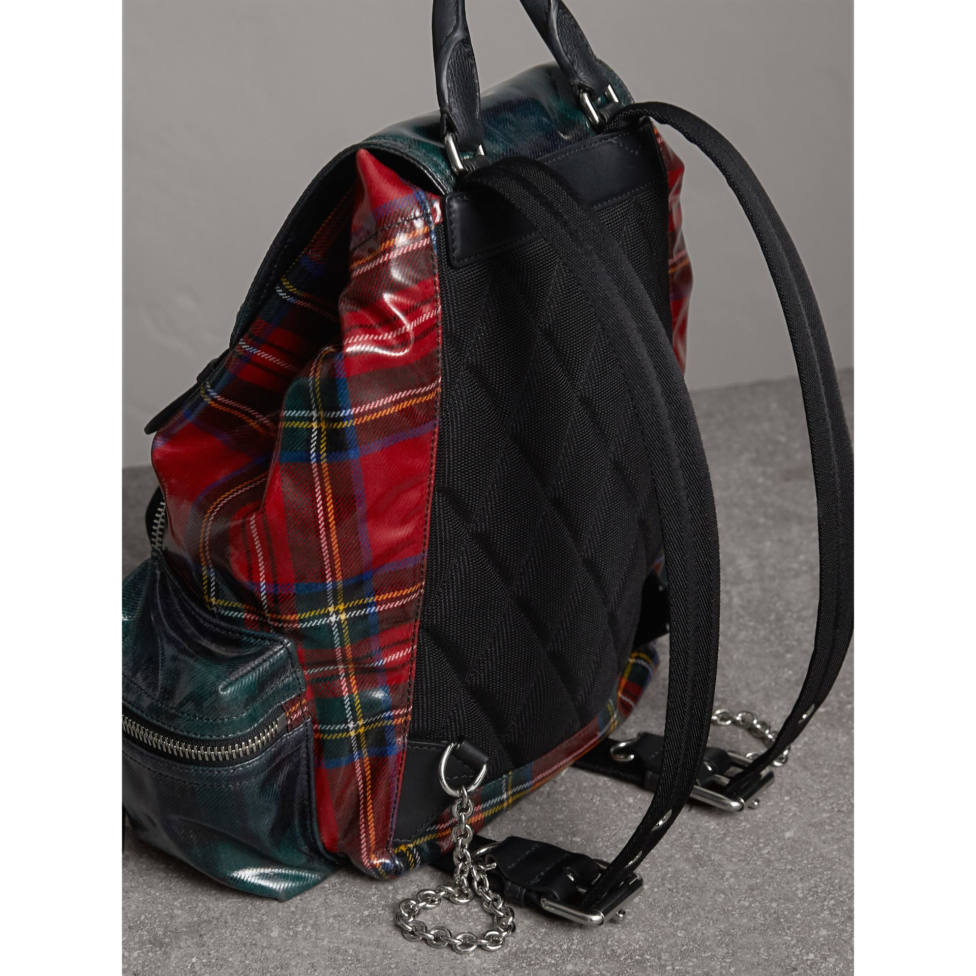 The Medium Rucksack in Laminated Tartan in Military Red | Burberry United Kingdom - gallery image 3