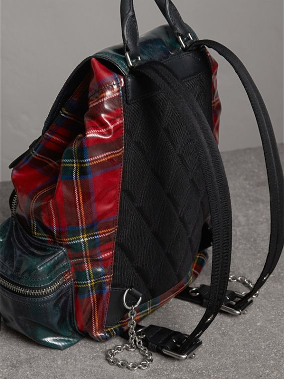 The Medium Rucksack in Laminated Tartan in Military Red | Burberry United Kingdom - cell image 2