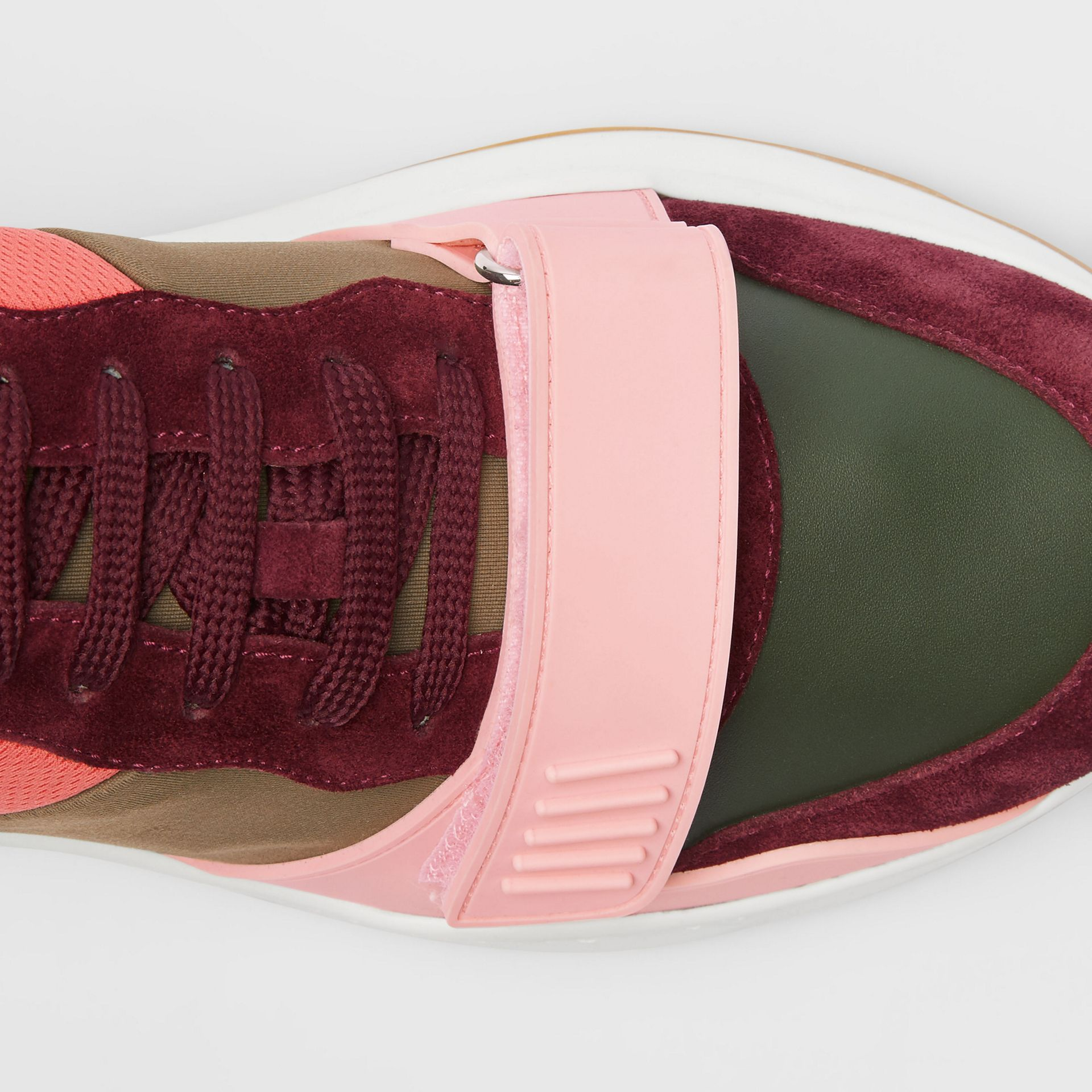 Colour Block Suede and Neoprene Sneakers in Bordeaux/khaki - Men | Burberry Canada - gallery image 1