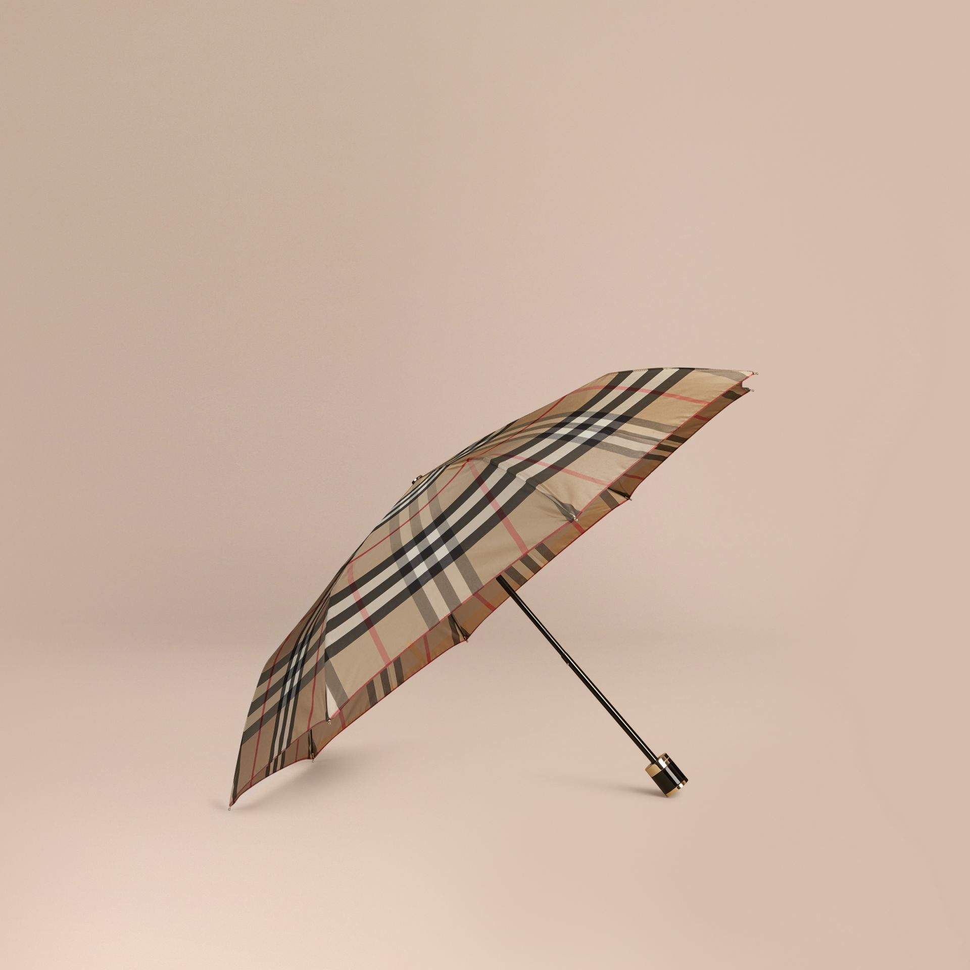 Check Folding Umbrella in Camel | Burberry - gallery image 1