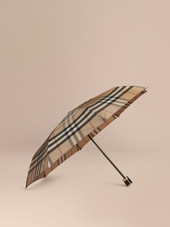 Check Folding Umbrella Camel