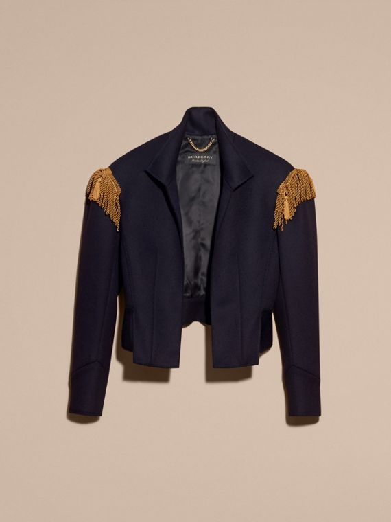 Dark navy Braided Detail Military Wool Jacket - cell image 3