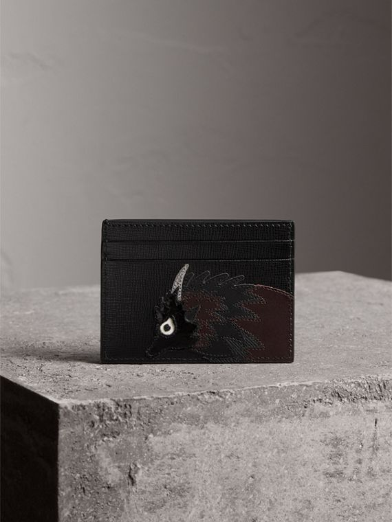 Beasts Motif Leather Card Case in Black - Men | Burberry - cell image 3