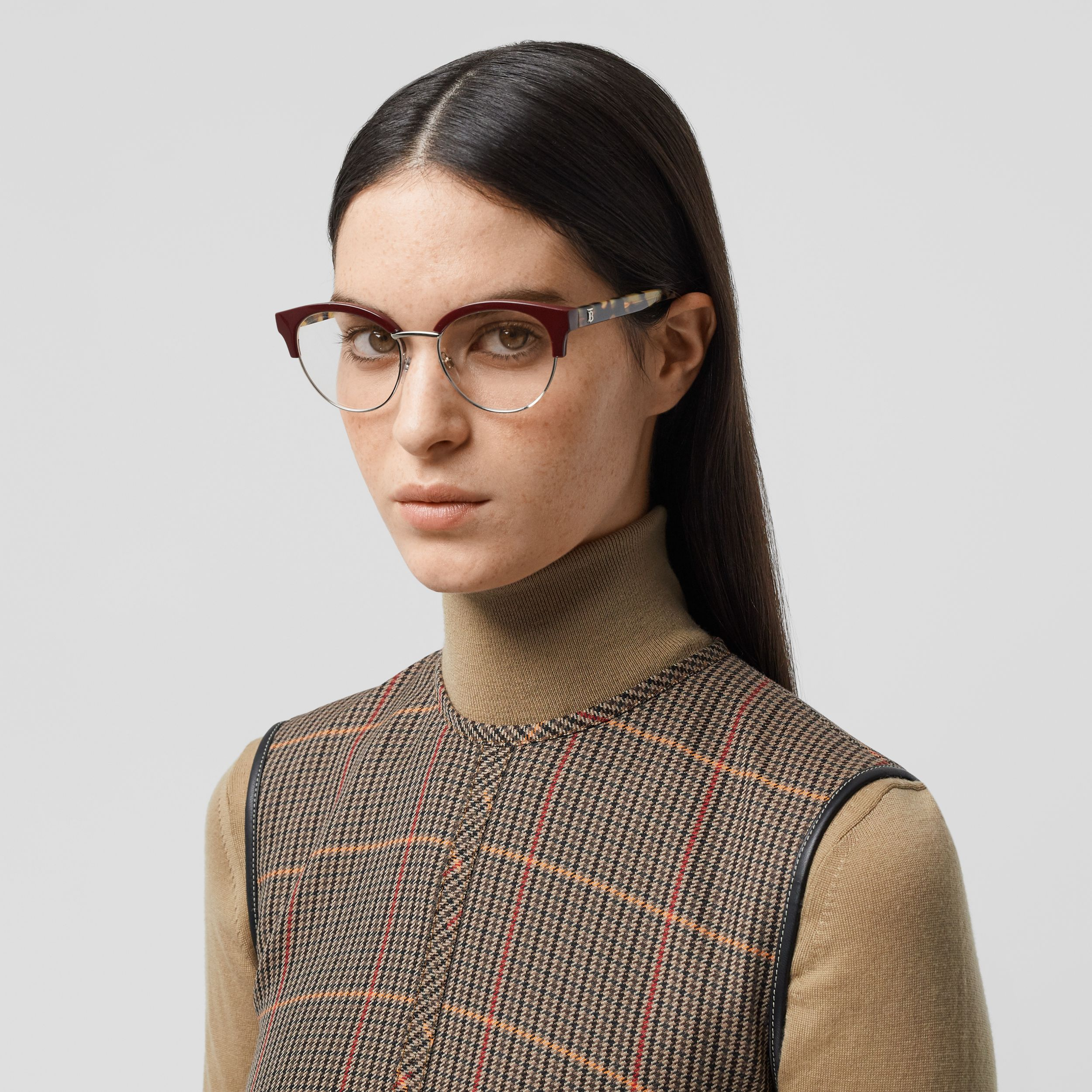 Cat-eye Optical Frames in Burgundy - Women | Burberry - 3