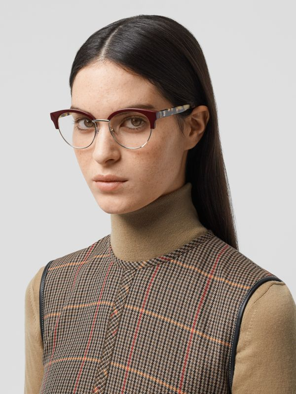 Cat-eye Optical Frames in Burgundy - Women | Burberry Australia - cell image 2