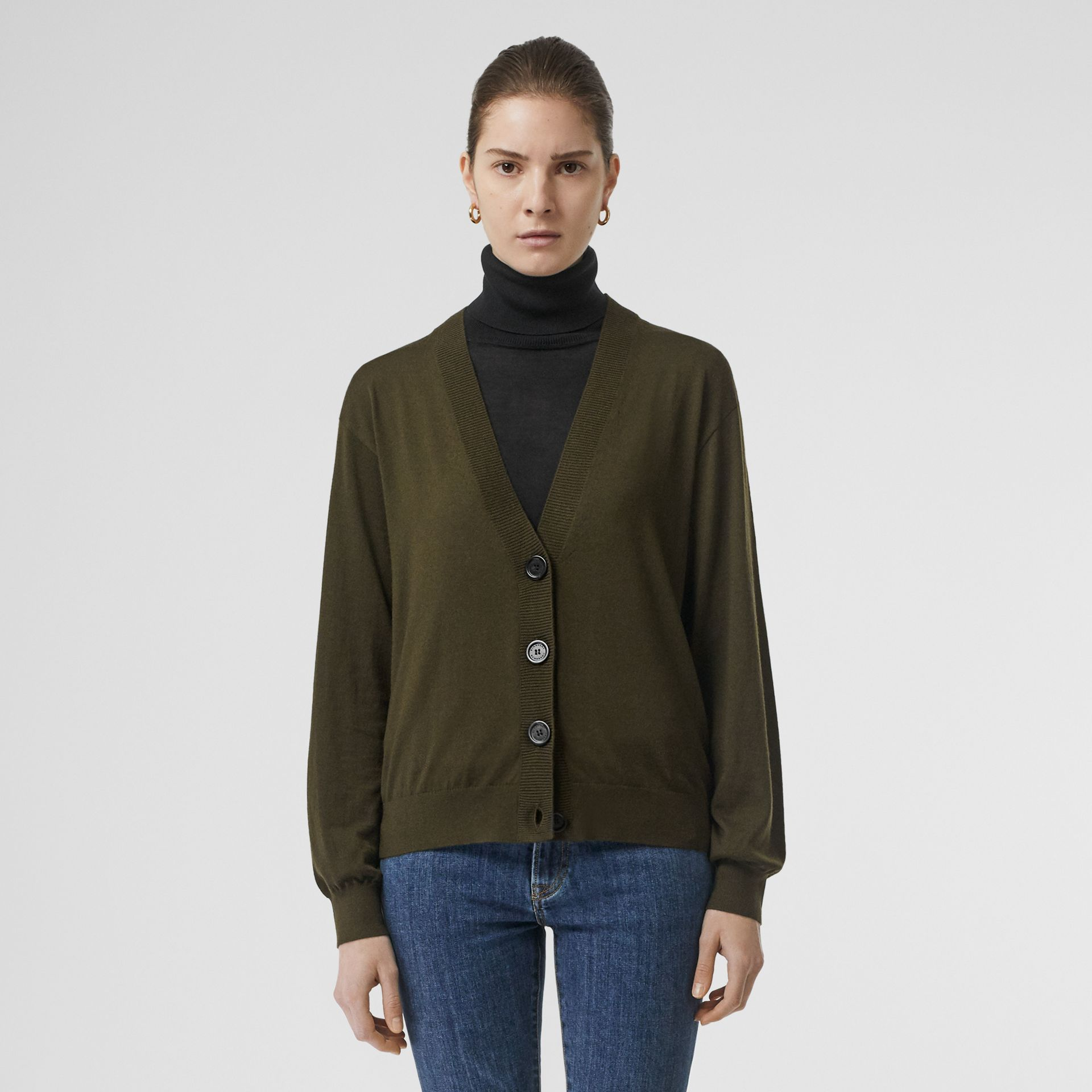 Vintage Check Detail Merino Wool Cardigan in Dark Olive - Women | Burberry - gallery image 5
