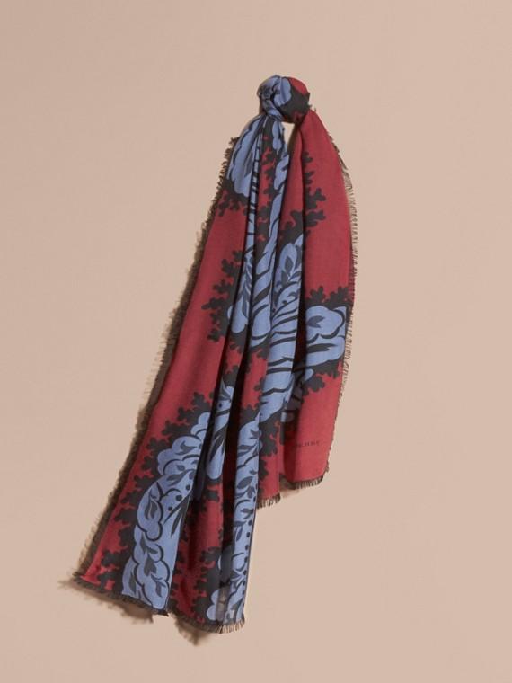 Leaf Print Cashmere Scarf Garnet Pink