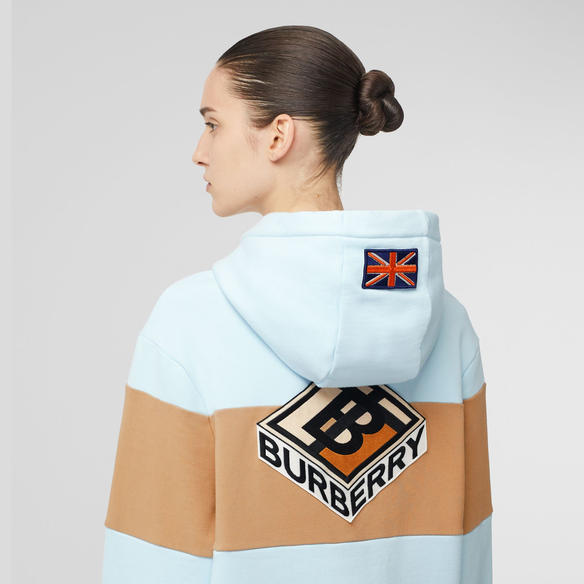 Logo Graphic Panelled Cotton Oversized Hoodie in Pale Blue - Women | Burberry - gallery image 1