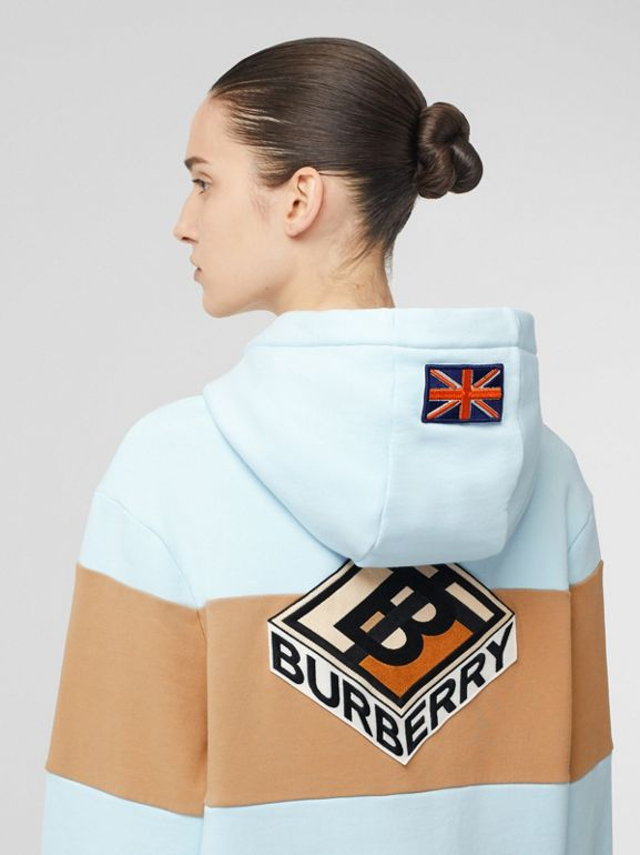 Logo Graphic Panelled Cotton Oversized Hoodie in Pale Blue - Women | Burberry - cell image 1