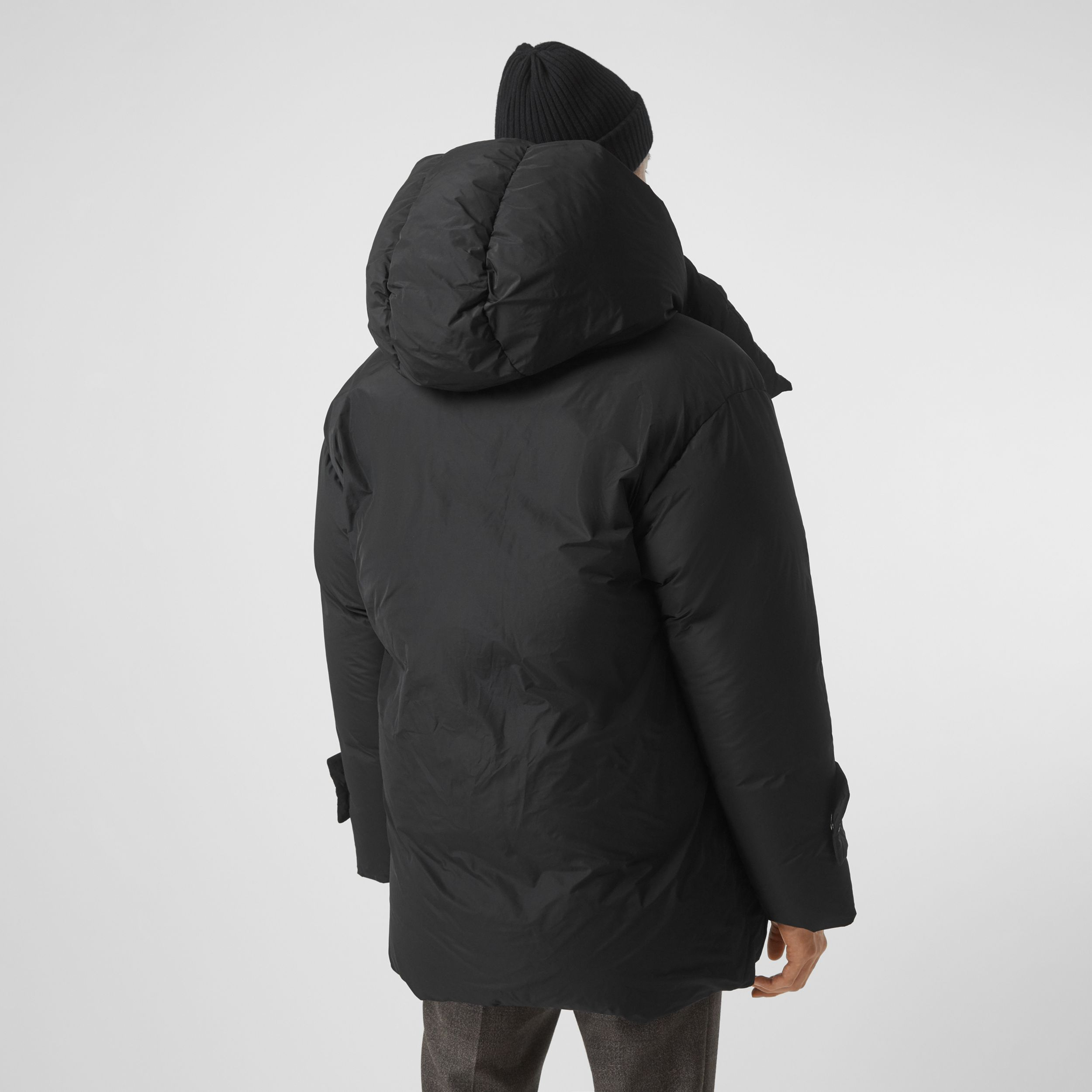 Detachable Hood Down-filled Oversized Wrap Coat in Black - Men | Burberry United States - 3