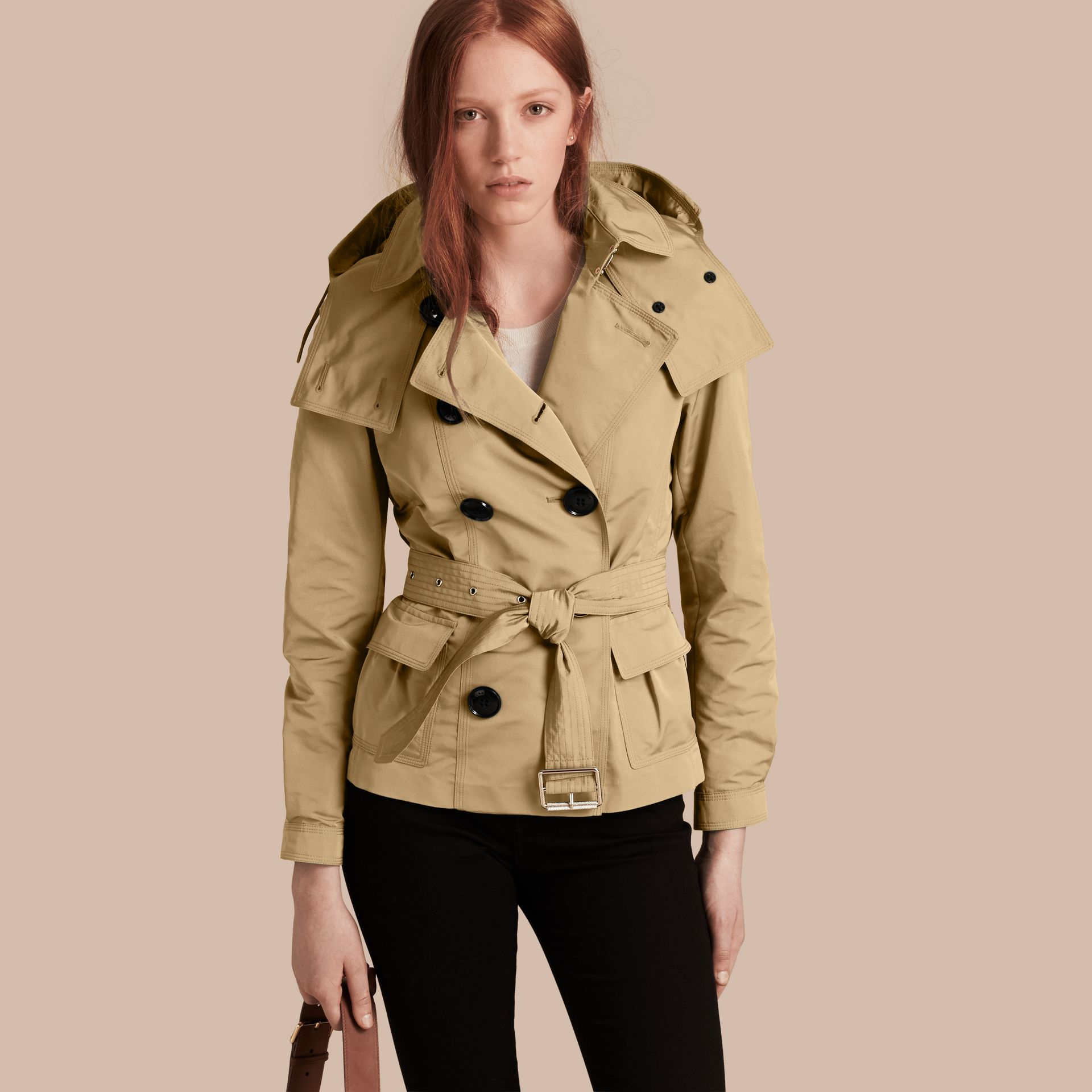 Showerproof Taffeta Trench Jacket with Detachable Hood in Honey - gallery image 1