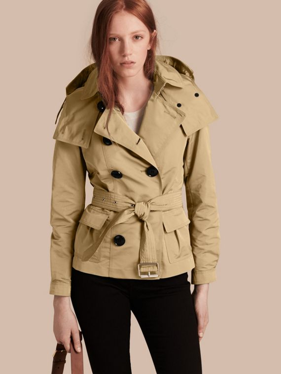 Showerproof Taffeta Trench Jacket with Detachable Hood in Honey - Women | Burberry