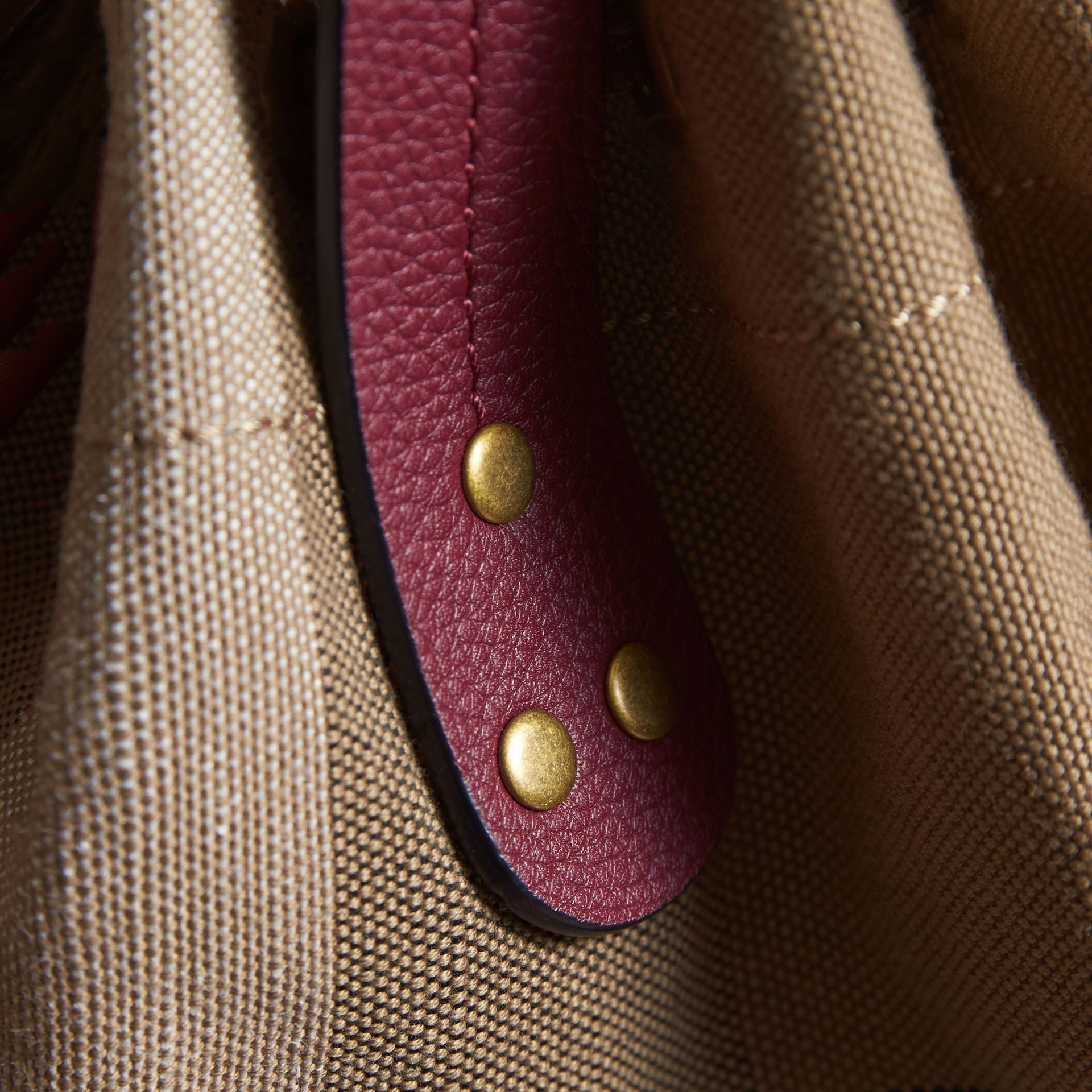 Small Canvas Check and Leather Bucket Bag in Burgundy Red - Women | Burberry Singapore - gallery image 7