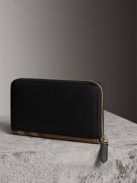 House Check and Grainy Leather Ziparound Wallet in Black | Burberry - cell image 2