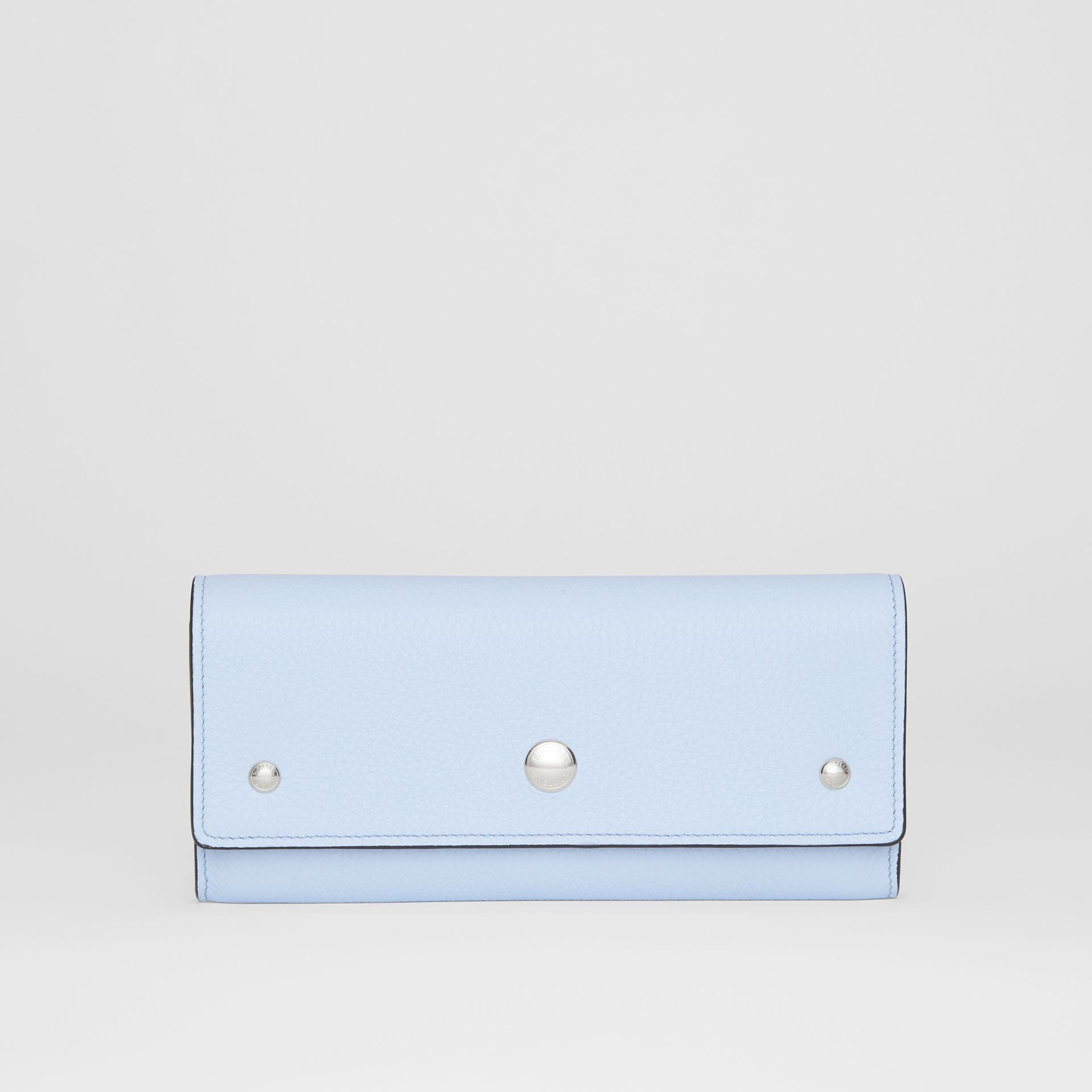 Grainy Leather Continental Wallet in Pale Blue - Women | Burberry United Kingdom - gallery image 0