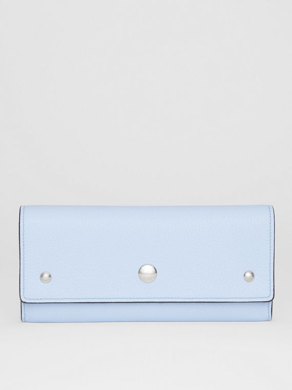 Grainy Leather Continental Wallet in Pale Blue