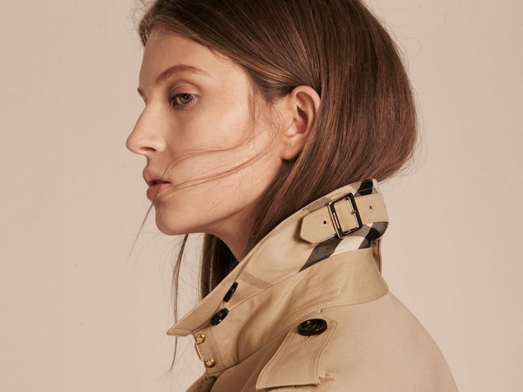 Honey Cotton Gabardine Trench Coat with Oversize Buckle Detail Honey - cell image 4