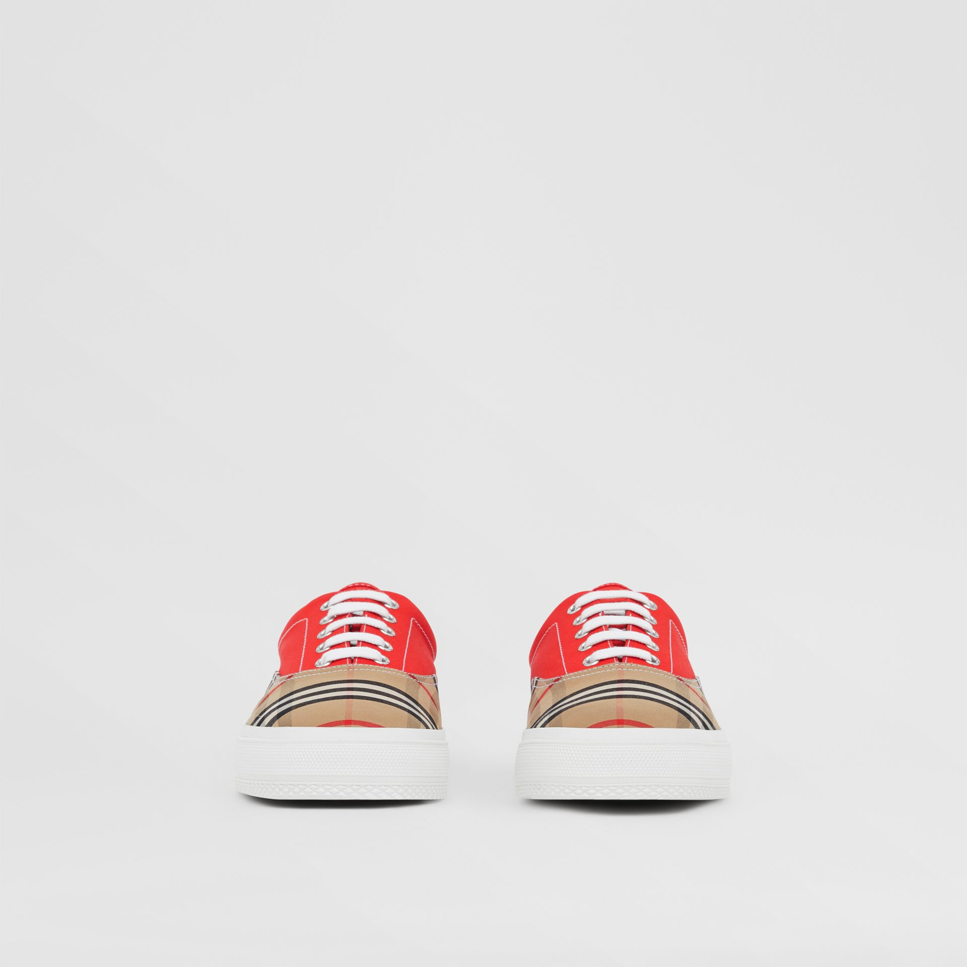 Vintage Check, Cotton Canvas and Suede Sneakers in Archive Beige/red - Men | Burberry Hong Kong S.A.R - gallery image 2
