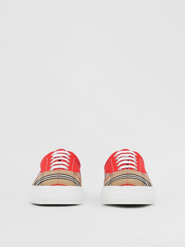 Vintage Check, Cotton Canvas and Suede Sneakers in Archive Beige/red - Men | Burberry - cell image 2