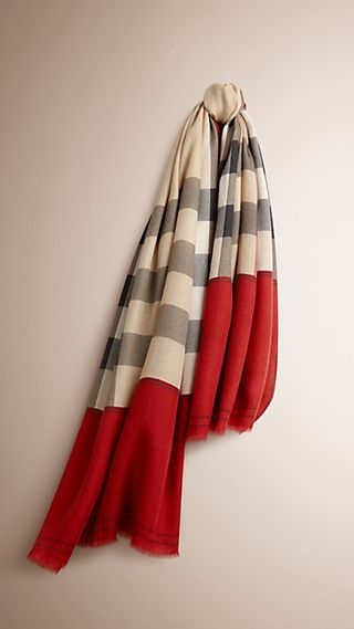 Sciarpa in cashmere con motivo Horseferry check e bordo a contrasto