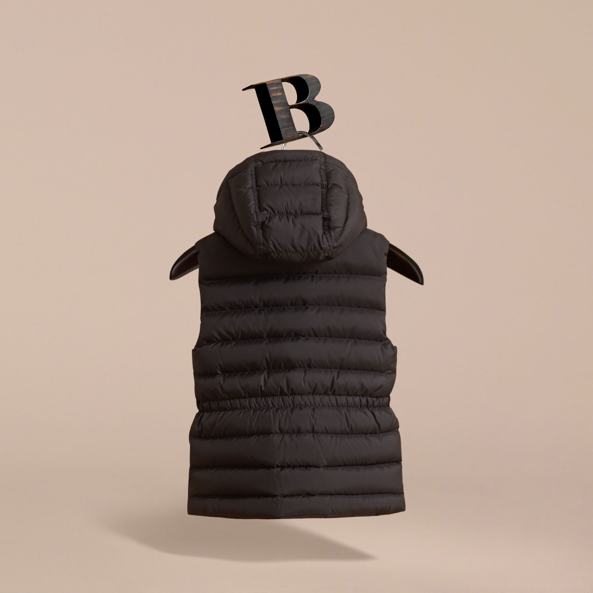 Detachable Hood Down-filled Gilet in Black - Girl | Burberry Australia - gallery image 4