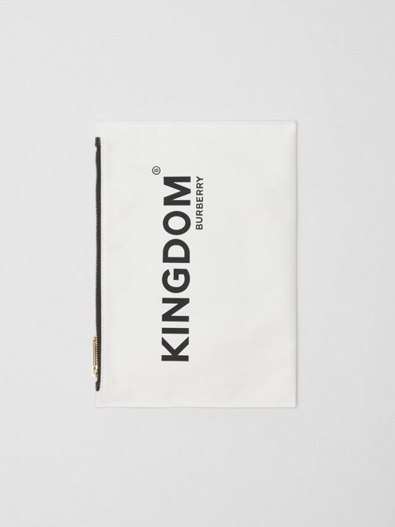Kingdom Print Cotton Pouch in Chalk White