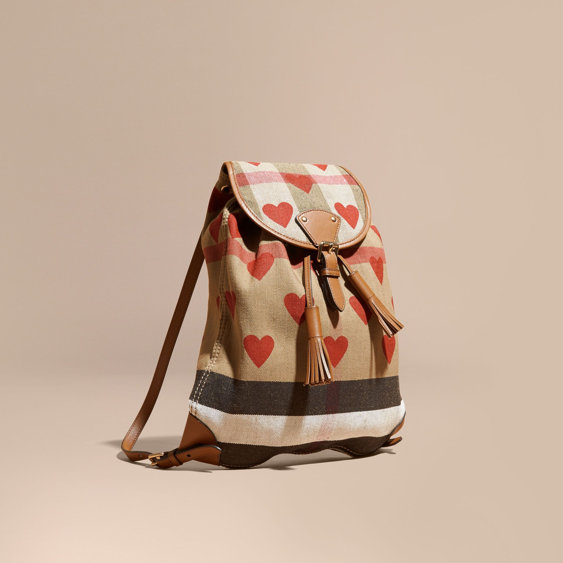 Parade red/tan Heart Print Canvas Check Backpack with Leather Trim Parade Red/tan - gallery image 1
