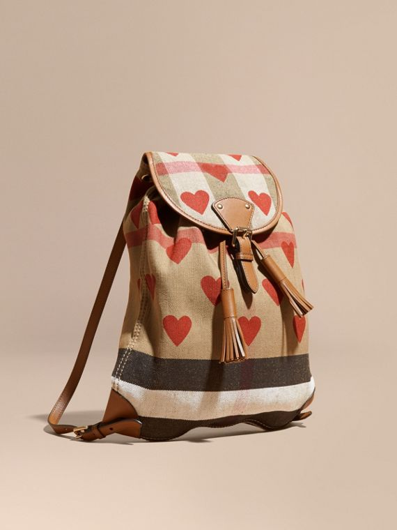 Heart Print Canvas Check Backpack with Leather Trim Parade Red/tan