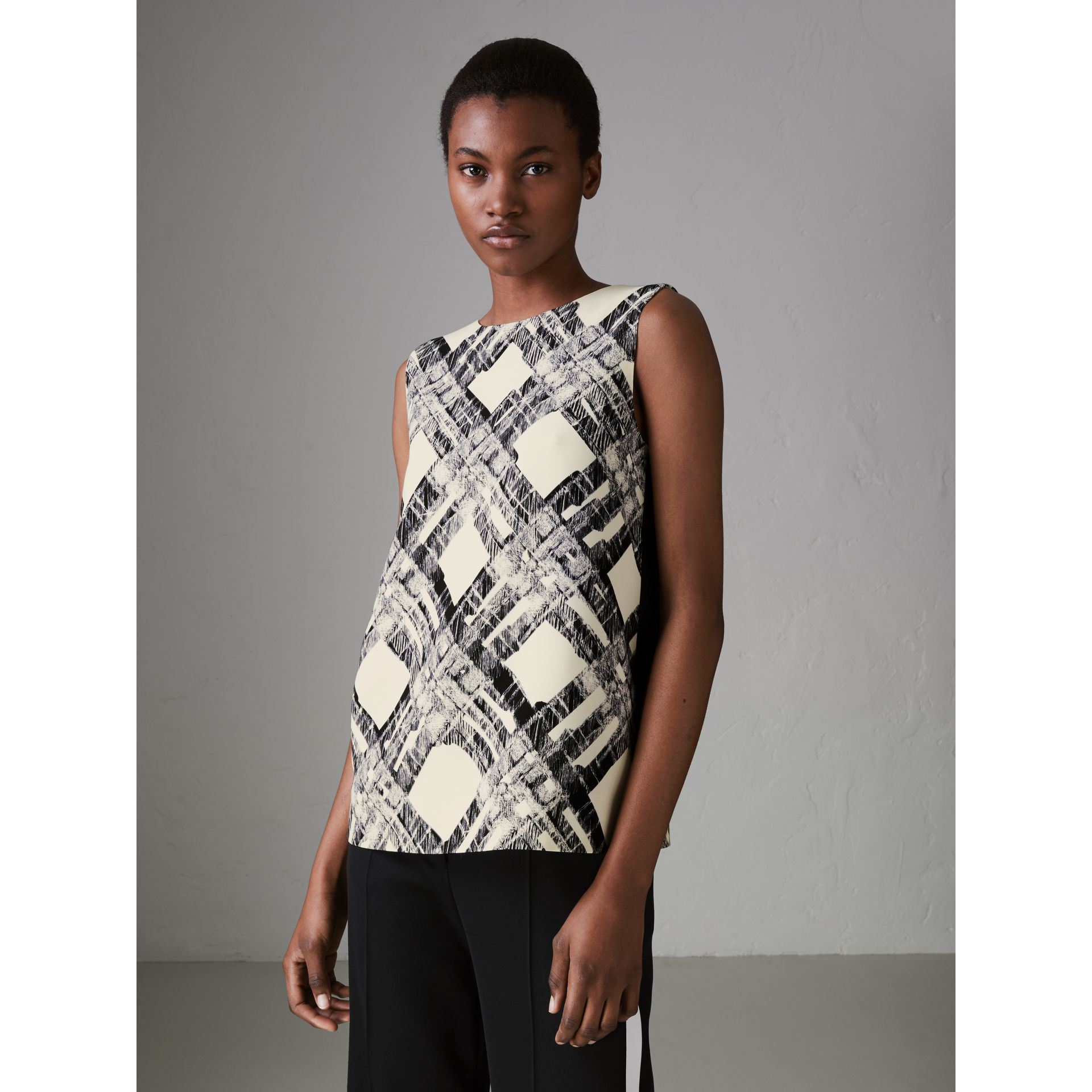 Sleeveless Check Print Wool Silk Top in Stone - Women | Burberry United States - gallery image 4