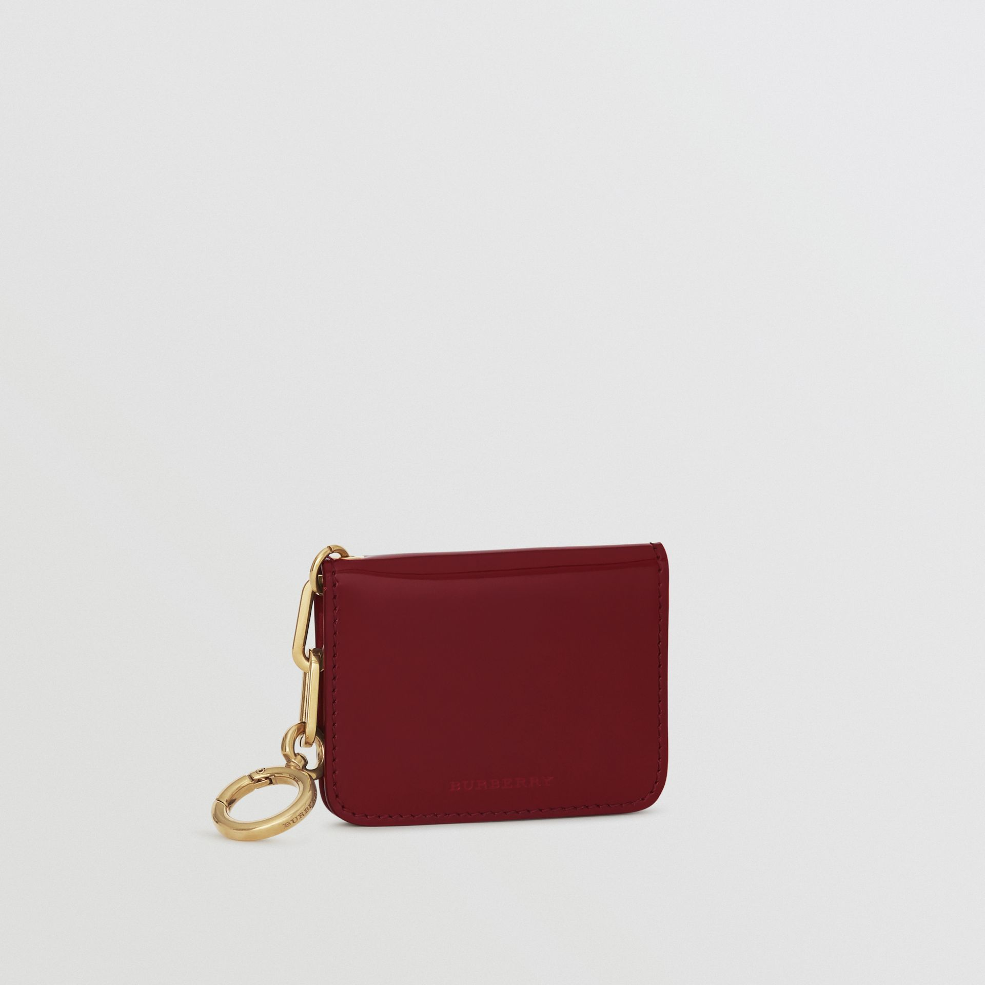 Link Detail Patent Leather ID Card Case Charm in Crimson - Women | Burberry United States - gallery image 4
