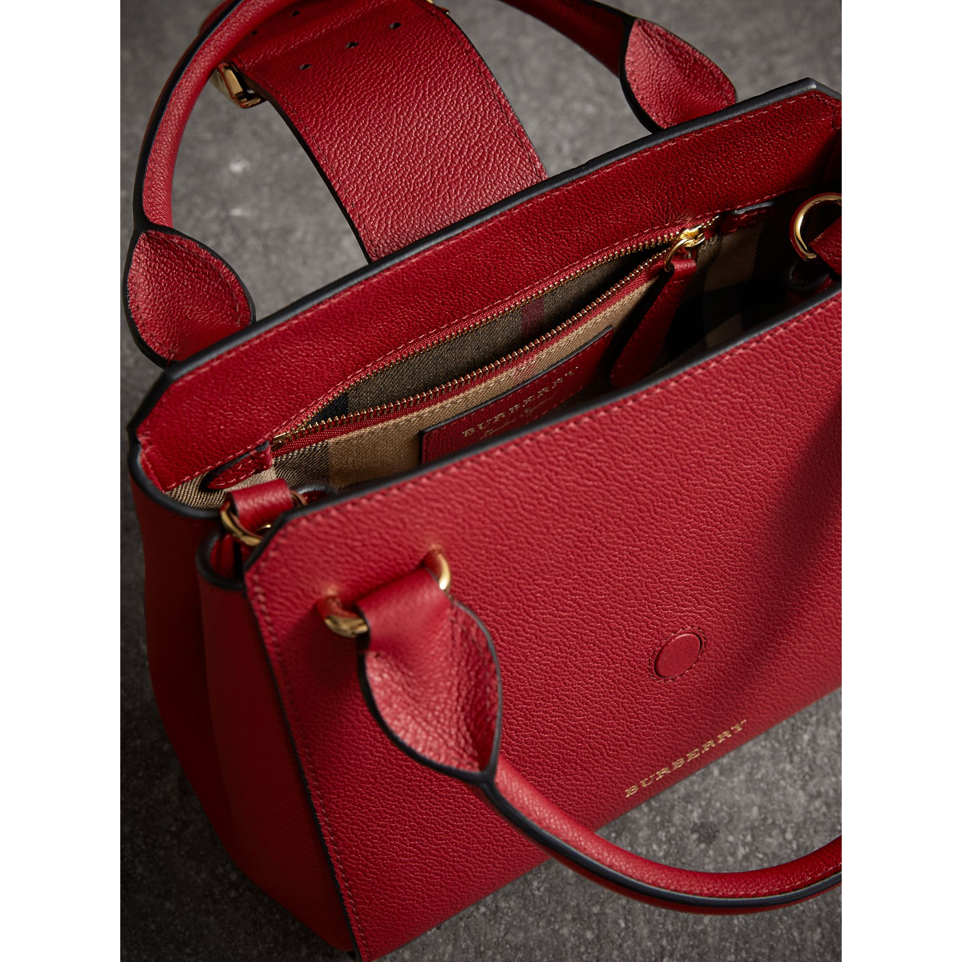 The Small Buckle Tote in Grainy Leather in Parade Red - Women | Burberry United States - gallery image 5