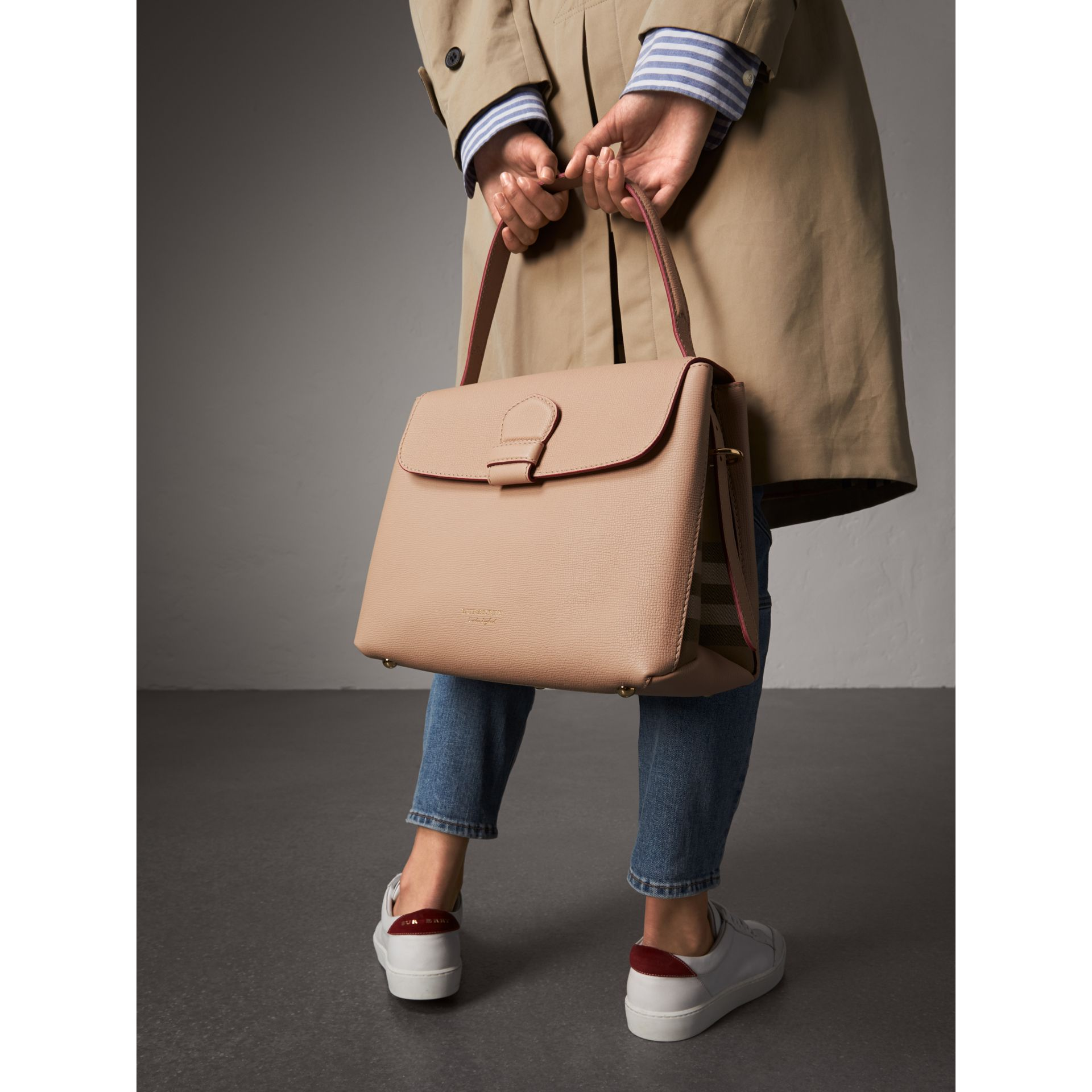 Medium Grainy Leather and House Check Tote Bag in Pale Apricot - Women | Burberry - gallery image 4
