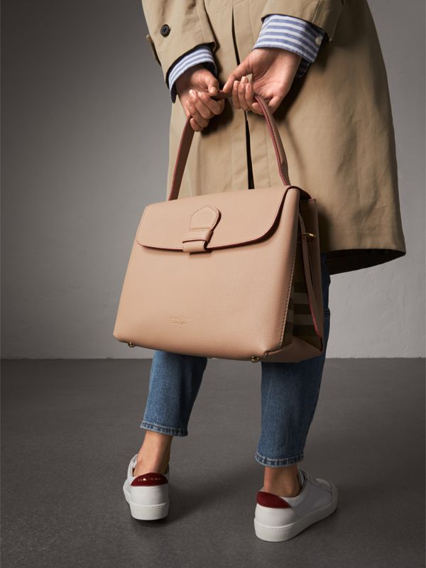 Medium Grainy Leather and House Check Tote Bag in Pale Apricot - Women | Burberry Australia - cell image 3