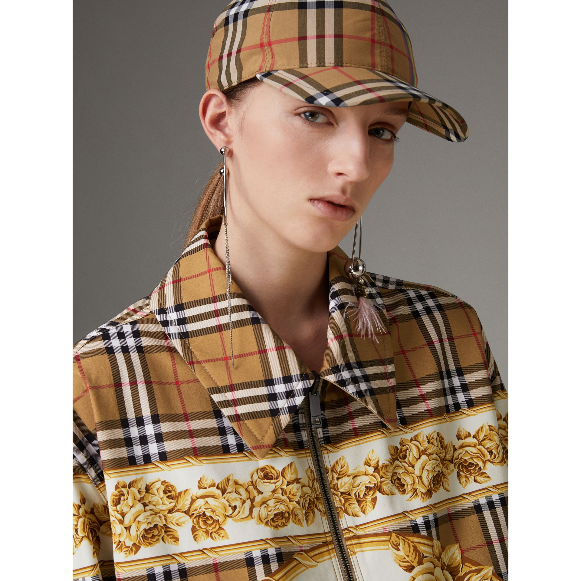 Reversible Archive Scarf Print Harrington Jacket in Antique Yellow - Women | Burberry United Kingdom - gallery image 1