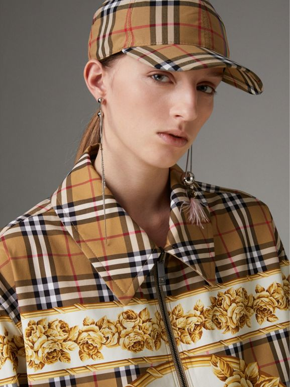 Reversible Archive Scarf Print Harrington Jacket in Antique Yellow - Women | Burberry Singapore - cell image 1
