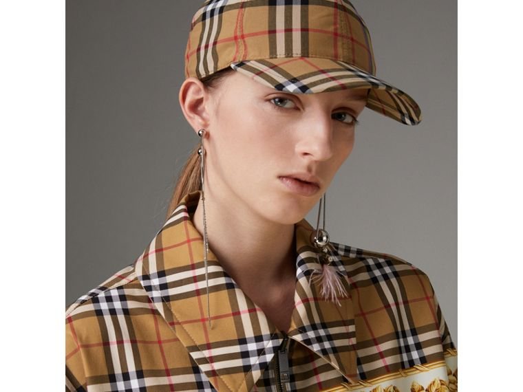 Reversible Archive Scarf Print Harrington Jacket in Antique Yellow - Women | Burberry United Kingdom - cell image 1